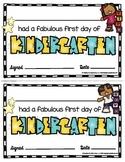 FREEBIE First Day of Kindergarten Awards - Certificates - Great Work