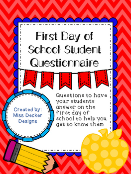 FREEBIE First Day of School Student Questionnaire