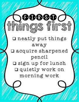 FREEBIE! First Things First! Morning Routine Posters