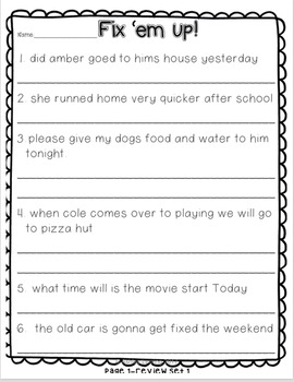 "FREEBIE!!  ""Fix 'Em Up"" Sentences for Students to Edit and Correct!"