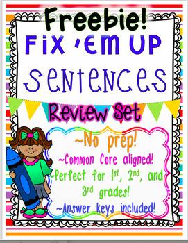 "FREEBIE!!  ""Fix 'Em Up"" No Prep Sentences for Students to Edit and Correct!"