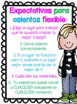 FREEBIE Flexible Seating Poster- Spanish & English