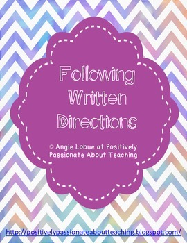 FREE Following Written Directions Printable