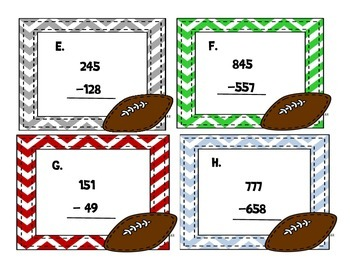 FREEBIE Football Subtraction Task Cards w/ Regrouping