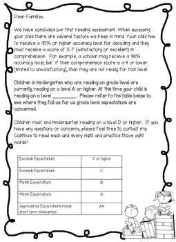 FREEBIE! Fountas & Pinnell Parent Letters { Reading Level and Explanation}