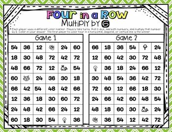 FREEBIE! Four in a Row Multiplication Games