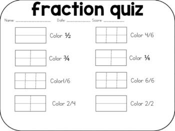FREEBIE Fraction Quiz