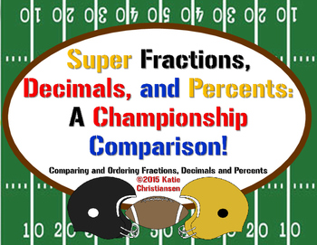 FREEBIE! Fractions, Decimals and Percents Super Bowl Style!