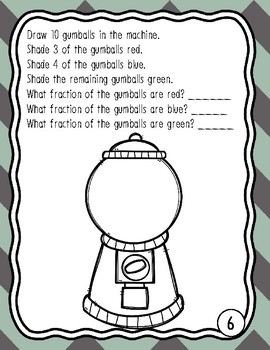 FREEBIE! Fractions of a Set Gumball Coloring Sheets and Activity Third Grade
