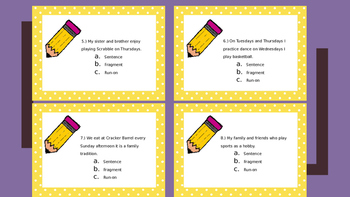 FREEBIE! Fragment RunOn Task Cards w Answer Key