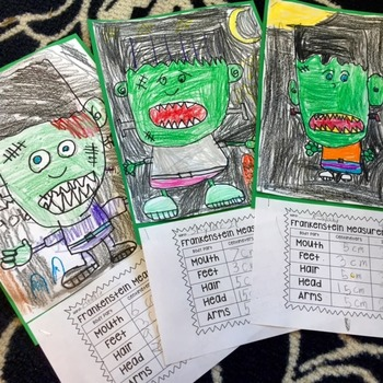 FREEBIE - Frankenstein Monster Directed Drawing Measurement Activity