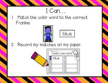 FREEBIE--Frankie's Color Words--Easy Prep Center for K-2