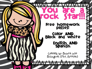 FREEBIE Free Homework Passes English & Spanish