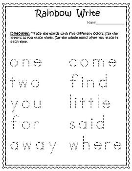 FREEBIE  Free Printable Sight Words for Big Kids - Dolch Pre-Primer Sampler