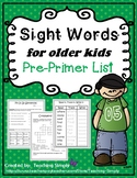 FREEBIE Printable Sight Words for Big Kids Sampler