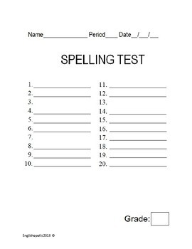 FREEBIE! Free Spelling Tests packet for 10, 15, 20, 25, 30, 50, 75 or 100 words