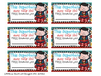 FREEBIE Free Superheroes Theme Homework Passes English & Spanish