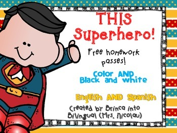 FREEBIE Free Superheroes Theme Homework Passes English & Spanish