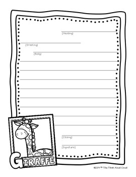 FREEBIE Friendly Letter Writing Sample {Zoo Animals ~ Giraffe} ~ Templates  Letter Writing Paper Template