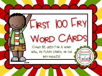 FREEBIE!!  Fry Word Cards
