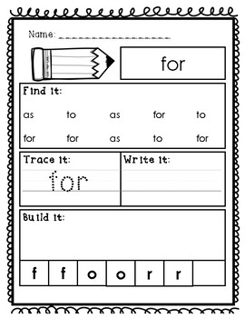 FREEBIE! Fry's First 100 Sightword Practice