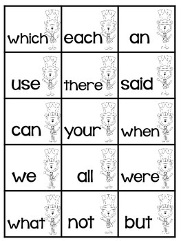 Free Sight Words Memory Game