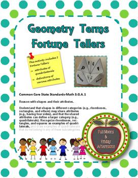 FREEBIE! Geometry Terms Fortune Tellers