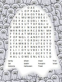 FREEBIE! Ghost Shaped Halloween Word Search