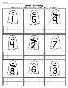 FREEBIE Ghost Ten Frame Worksheet