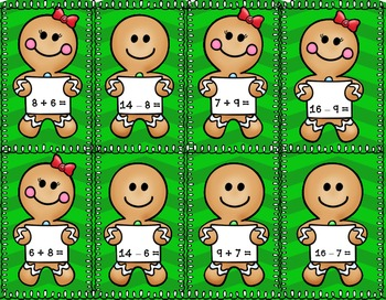 FREEBIE!  Gingerbread Fact Families Sorting Addition Subtraction Centers