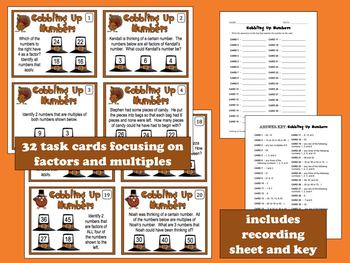 Gobbling Up Numbers - factors and multiples task cards & printables set