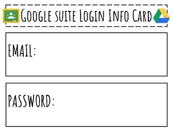 FREEBIE! Google Apps for Education, Google Classroom, Google Drive, Login Cards