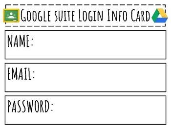 FREEBIE! Google Apps for Education, Google Classroom, Google Drive, Login Cards