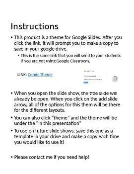 FREEBIE Google Slide Comic Book Theme