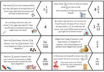 FREEBIE! Grade 4 NF Fractions - Wordy Question Match Up Puzzle