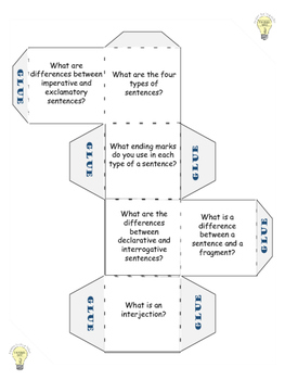 FREEBIE Grammar Review Game/Cube for Types of Sentences C/B&W