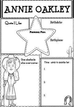 FREEBIE: Graphic Organizer : Annie Oakley