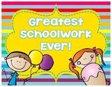 FREEBIE Greatest Schoolwork Ever Posters {Cutie Kids Edition}