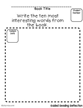 FREEBIE - Guided Reading Reflection - Interesting Words