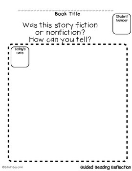 FREEBIE - Guided Reading Reflection - Proving Fiction or Nonfiction Text