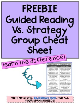 FREEBIE Guided Reading Vs. Strategy Group Cheat Sheet
