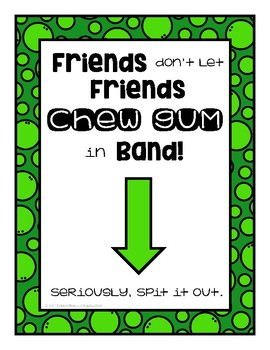 FREEBIE Gum Posters for Choir or Band by Education and Inspiration