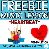 """FREEBIE: """"HEARTBEAT"""" Video with Beat, Rhythm, Pitch Lessons and Activities"""