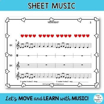 "FREEBIE: MUSIC LESSON ""HEARTBEAT"" Beat, Rhythm, Pitch  Teaching Video"