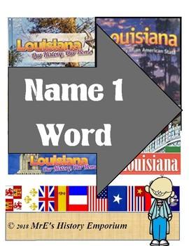 FREEBIE   HISTORY/LOUISIANA Name One Thing activity