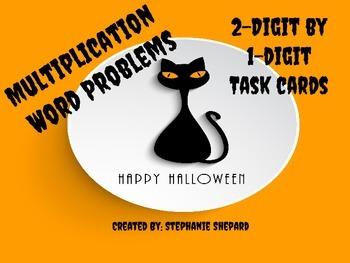Halloween 2-digit by 1-digit Multiplication Word Problems