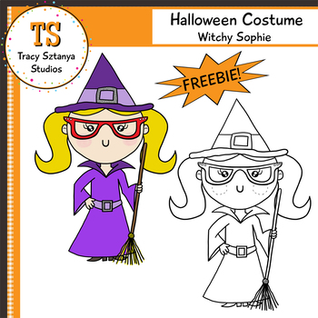 FREEBIE Halloween Clipart Set – Sophie as a Witch {Tracy Sztanya Studios}