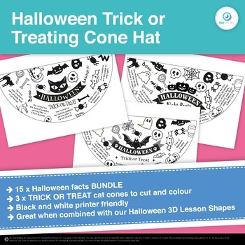 FREEBIE Halloween Facts Trick or Treat Cone Witch's Hat 3D shapes maths