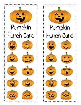 FREEBIE Halloween Jack-o-Lantern Pumpkin Punch Cards!