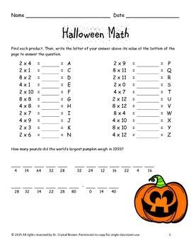 FREEBIE Halloween Math for 3rd Grade